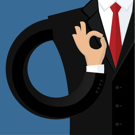 ok sign: Business man in black suit gesturing OK sign. Flat design. Illustration