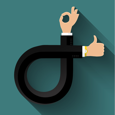 aspirational: Flat design business concept with stylized hands sign like and Ok. Vector illustration Illustration