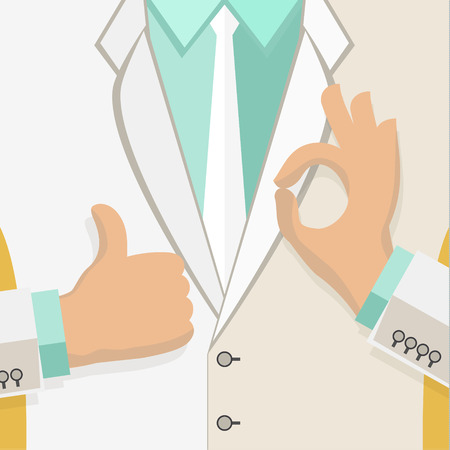 aspirational: Business man in white suit give thumb up sign and gesturing OK sign. Flat design.