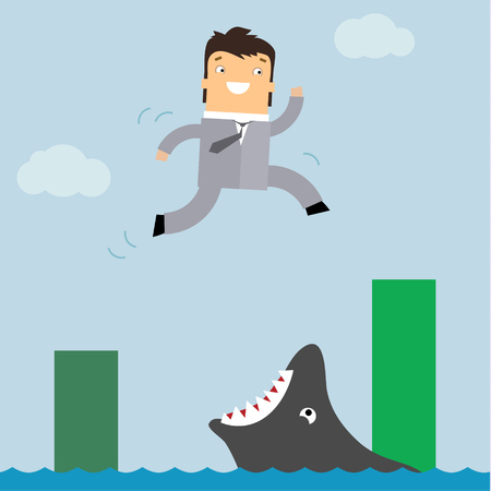 Business in danger concept, representing with businessman not aware of jumping in opening big fish mouth.