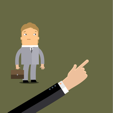layoff: Layoff concept. Arm boss showing the employee exit