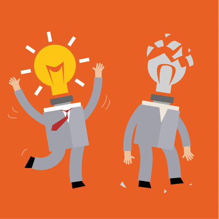 broken strategy: Idea man, abstract background on knowledge businessman with glow light bulb and opposite side no ideas Illustration