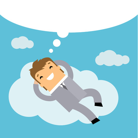 retire: Business man dreaming on a cloud. Concept of big dreams