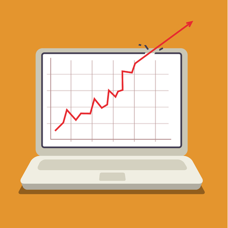 Business concept, red arrow shows growth chart. Flat design Illustration