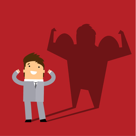 creative strength: Business man casting a shadow of an athlete - business and career strength concept. Flat design