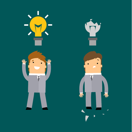 man abstract: Idea man, abstract background on knowledge businessman with glow light bulb and opposite side no ideas Illustration