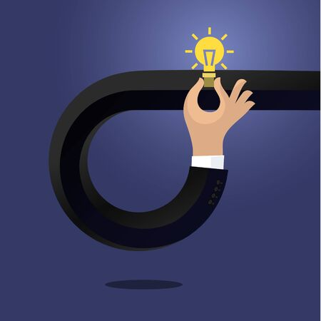 innovation: Flat style modern idea innovation light bulb infographic concept. Conceptual web illustration of businessman hand holding lamp. Business strategy planning objects icon set collage. Illustration