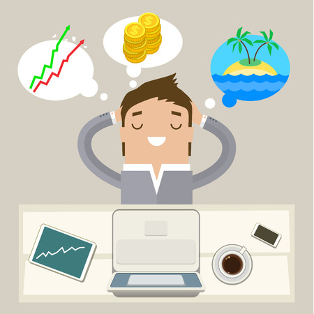 financial success: Business man dreaming on a cloud. Concept of big dreams