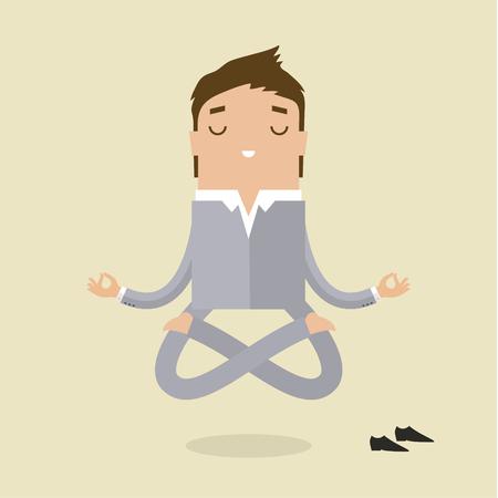 Cartoon zakenman doet yoga en meditatie. Concept van de vrede in het achterhoofd. Plat ontwerp