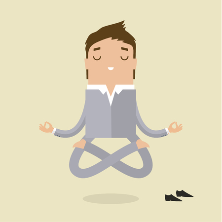 Cartoon business man is doing yoga and meditation. Concept of peace in mind. Flat design Illustration