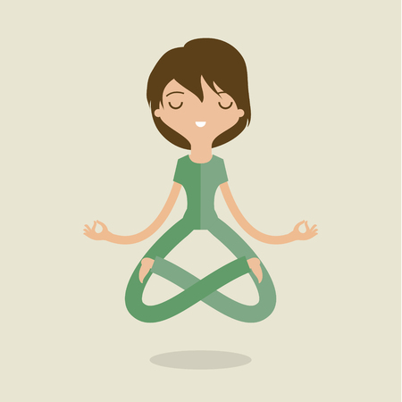 Cartoon woman is doing yoga and meditation. Concept of peace in mind. Flat design Vectores