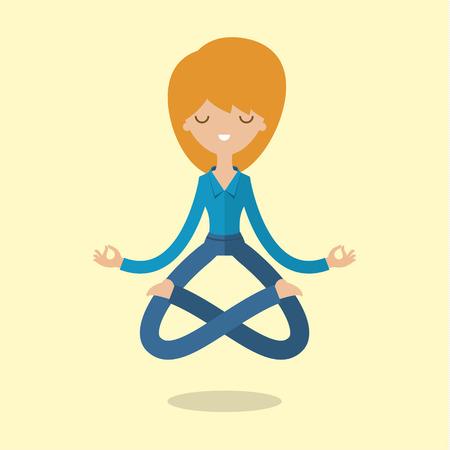 mente: Mujer de negocios de la historieta está haciendo yoga y meditación. Concepto de la paz en la mente. Diseño plano Vectores