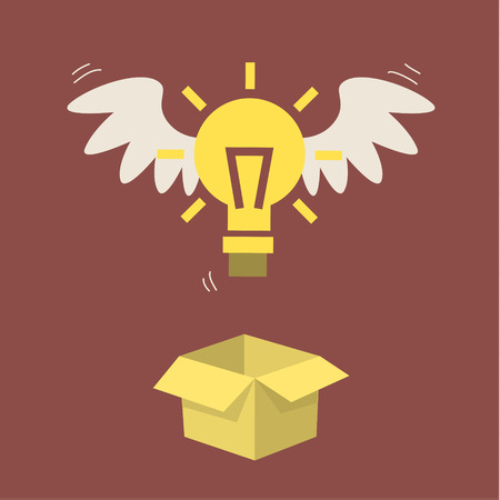 light shadow: Flying light bulb from box. Concept of idea. Flat design.