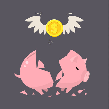 economic depression: Broken Piggy Bank concept for financial crisis or economic depression Illustration