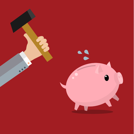 apprehensive: A hand holding a hammer which is raised above a pink piggy bank, with a shocked and apprehensive facial expression. Illustration