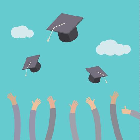 교육의 개념입니다. 공중에 졸업 모자를 던지고 졸업생.
