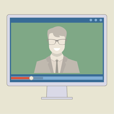 Vector webinar concept in flat style. Video player. Online education Illustration