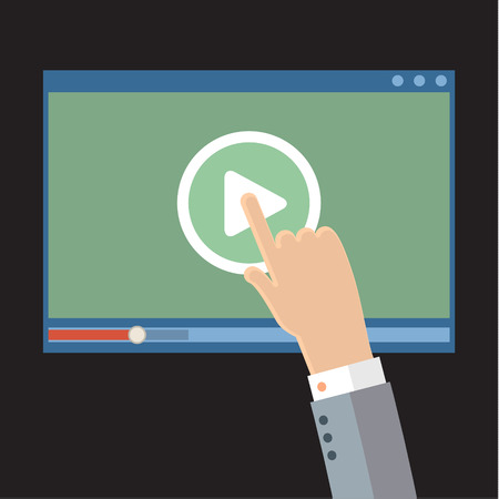 Vector webinar concept in flat style. Video player. Online education 矢量图像