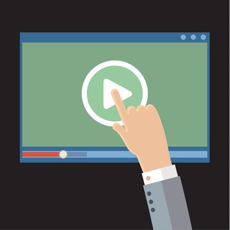 Vector webinar concept in flat style. Video player. Online education Иллюстрация