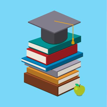 graduado: Concepto de la graduación. Casquillo de la graduación en los libros. Diseño plano. Ilustración vectorial