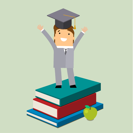 grad: Graduating businessman in grad hat on books. Flat vector illustration. Illustration