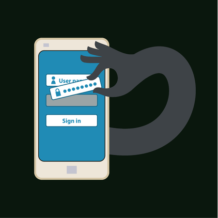 breaking the code: Hacking account of social networking. Flat design Illustration
