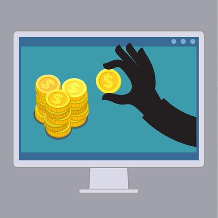 picking up: Thief stealing money by reaching his hand picking up dollar from screen of computer. Illustration