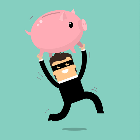 steal: Businessman steal piggy bank. Risk of finance and business. Flat design