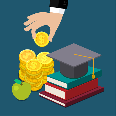 Invest in education concept in flat style - stack of coins and book with university hat. Vector illustration