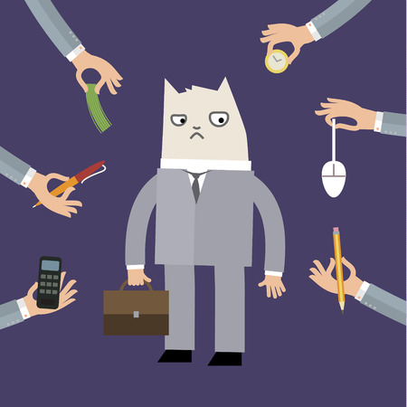 grumpy: Businessman doing grumpy cat face for calm down the stressful emotion from multitasking and very busy working. FLat vector illustration