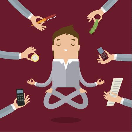 사업가 멀티 태스킹 및 매우 바쁜 작업에서 스트레스가 많은 감정을 진정 요가 하 고.