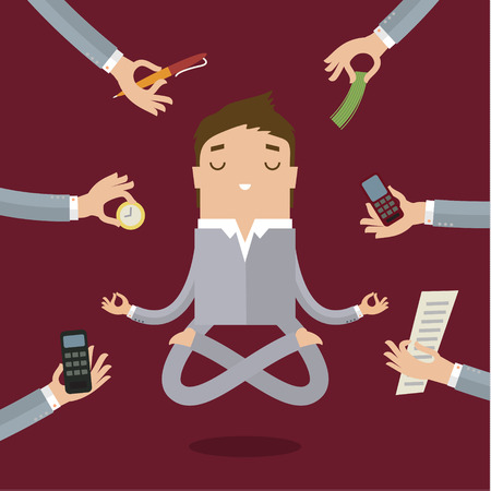 work stress: Businessman doing Yoga to calm down the stressful emotion from multitasking and very busy working.