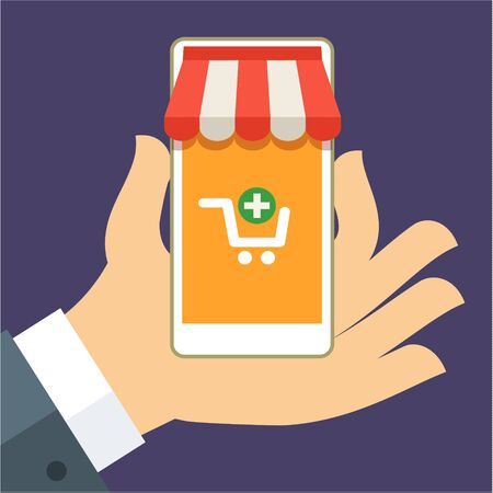 using smart phone: Hand holding smart phone with buy icon on the screen. E-commerce flat design concept. Using mobile smart phone for online purchasing.