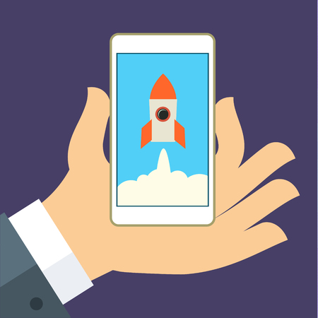 new business: Modern flat vector illustration concept for new business project startup, new product or service. Smartphone in hand with spaceship. Illustration
