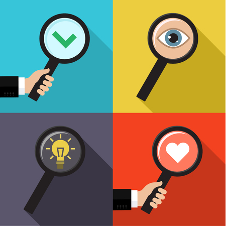 Set of searching concepts. Searching a love, idea, symbol of check and eye. Flat vector illustration Иллюстрация