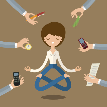 Businesswoman doing Yoga to calm down the stressful emotion from multi-tasking and very busy working. Ilustracja