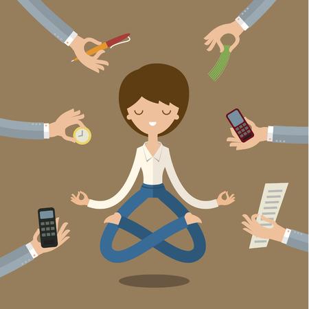 Businesswoman faire du yoga pour calmer l'émotion stressant de multi-tâches et le travail très occupé. Vecteurs