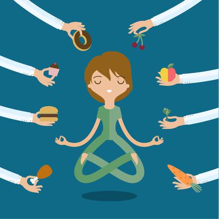 comida chatarra: Unas manos ofrece a las mujeres una comida sana y de la chatarra. Estilo plano, ilustración vectorial