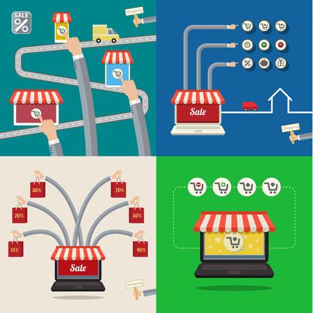 carport: Set of Sale concepts. Online store, sale. Concept of shopping