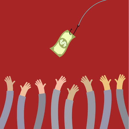 entrap: Hooked money and reaching hands. Motivation or illusion. Conceptual illustration suitable for advertising and promotion. Flat style