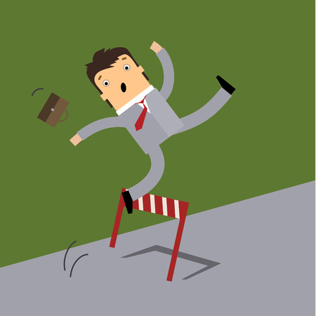 obstacle: Business man running and jumping over the hurdle but failed to cross over it. Business concept in failure or unable to overcome obstacle or problem.