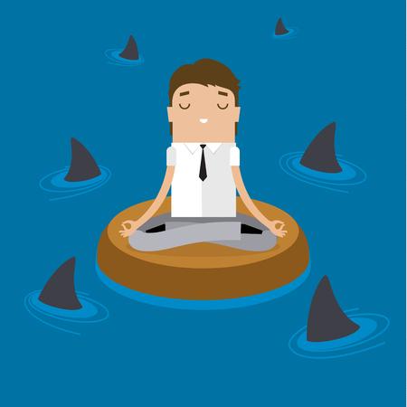 De negocios que hace yoga para calmar la emoción estresante en una situación de riesgo. Diseño plano