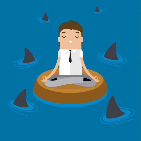 Businessman doing Yoga to calm down the stressful emotion in a risky situation. Flat design