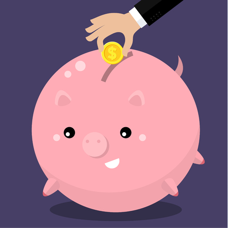 hum: Cute fat piggy bank with hand collecting money. Keep money concept. Flat vector illustration.