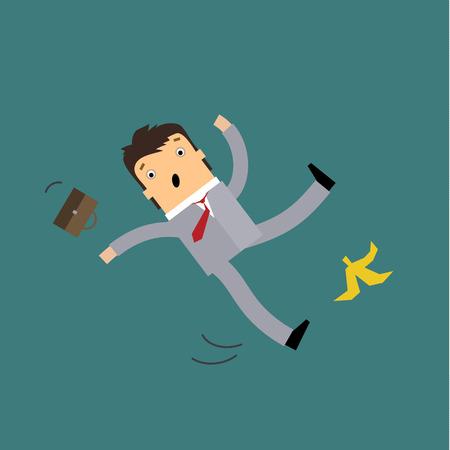 Hombre de negocios en estilo de dibujos animados resbalar en una cáscara de plátano y cayendo abajo con los brazos extendidos y las estelas de movimiento