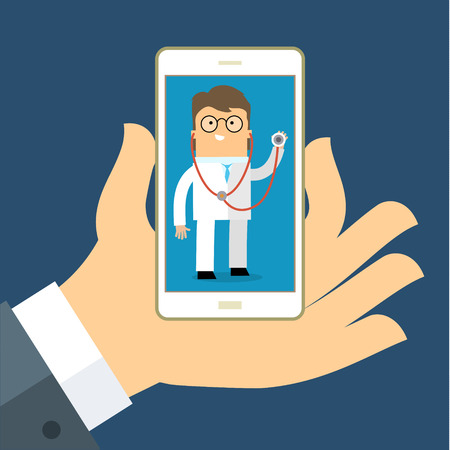 Mobile health care and medicine concept. Help and support, smartphone and monitoring. Vector illustration