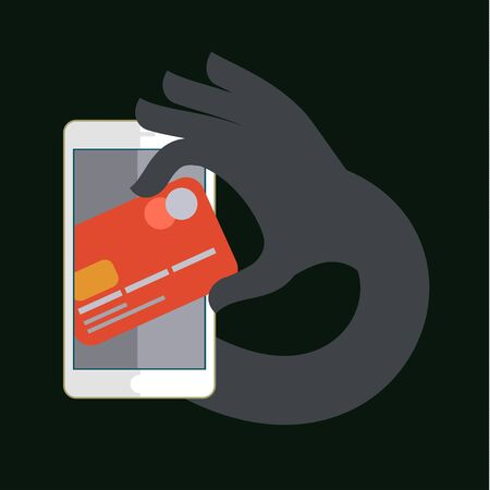 spy ware: Thief stealing money by reaching his hand picking up card from screen of smart phone. Illustration