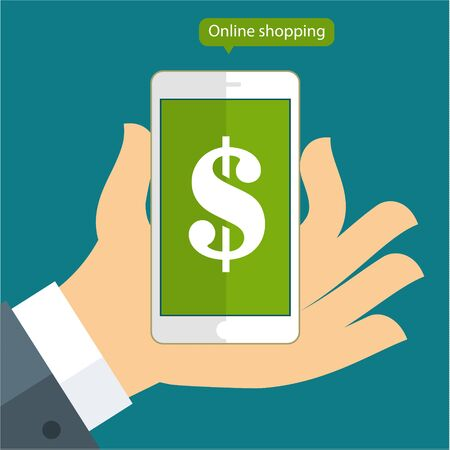 checkout line: Flat design vector business illustration concept Online banking payments services hand hold smart phone for website and promotion banner.