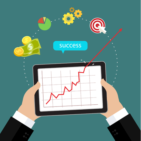 Business concept of success, red arrow shows growth chart. Flat design