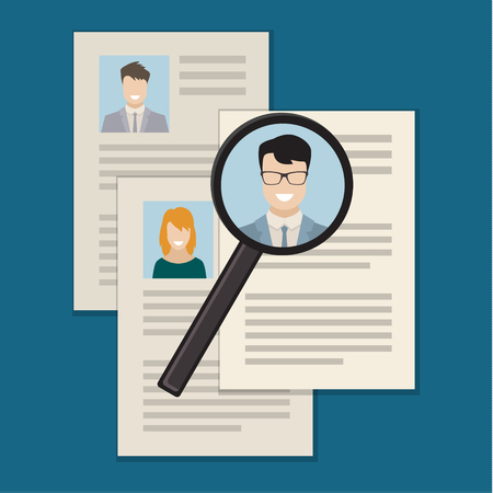 Flat design colored vector illustration concept of searching professional staff, analyzing personnel resume, recruitment, human resources management, work of hr.